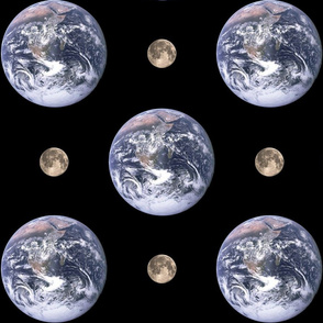 "6"" Earth and 1.6"" Moon polkadot"
