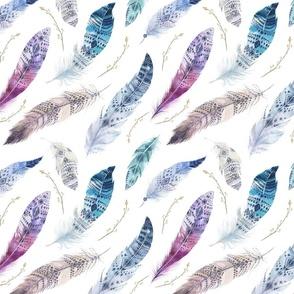 Watercolor feather boho color organic design3