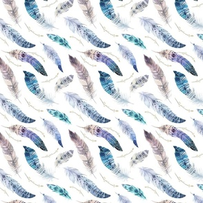 Watercolor feather boho color organic design4