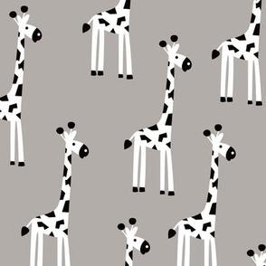 Adorable baby giraffe safari animals for kids winter gender neutral gray