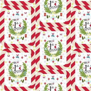 first Christmas BLUE candy cane wreath quilt