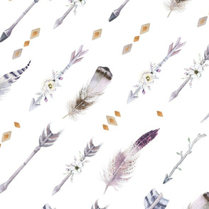 Watercolor arrows and feathers2