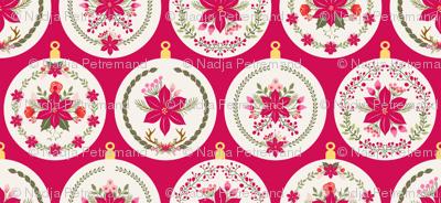 Boule de noel poinsettia rouge l fabric nadja petremand - Boule de noel rouge et blanche ...