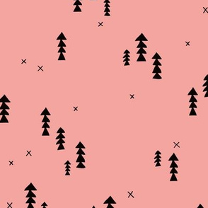 Sweet basic winter wonderland woodland pine trees abstract christmas Scandinavian design pink