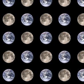 """Large (3"""") Earth and Moon polkadots"""