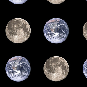 "Huge (6"") Earth and Moon Polkadot"