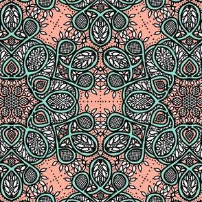 Battenburg lace coral mint