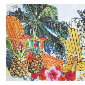 Deckchairs hibiscus and cocktails