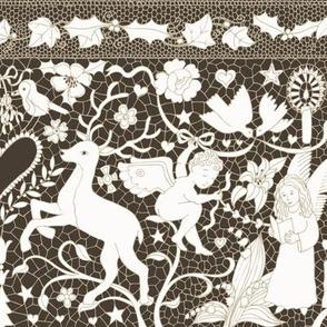 Antique Lace - Cream on Sepia