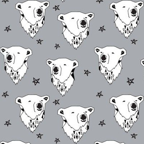 polar bear // cute winter polar bear grey fabric nursery baby winter animals