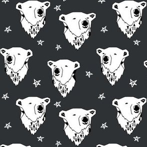 polar bear // charcoal dark grey nursery fabric endangered animal fabric winter fabric bears fabric