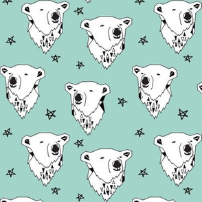polar bear // polar bear  mint fabric mint nursery fabric cute bears fabric baby fabric polar bear design arctic animals andrea lauren