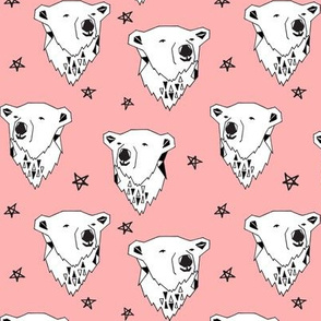 polar bear // pink polar bear fabric cute arctic bear black and white baby girl winter fabric bears