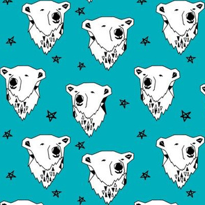 polar bear // turquoise aqua polar bear fabric cute winter bear andrea lauren