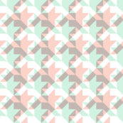 quilters houndstooth - pink, grey, mint and white