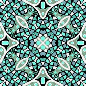 Kaleidoscope Turquoise Teal White