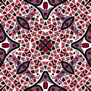 Kaleidoscope Burgundy Mauve White