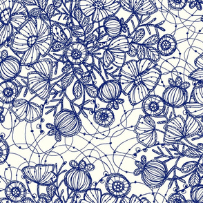 Wildflowers in Lace, Blue on Cream - ©Lucinda Wei