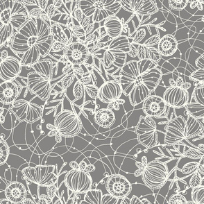 Wildflowers in Lace, Silver+Cream - ©Lucinda Wei
