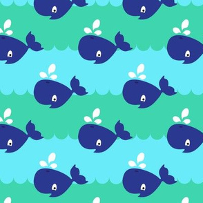 Whales // sea waves seaside mammals animal print kids design turquoise blue green