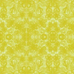 Antique Lace on Linen - Chartreuse