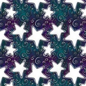 Project 96 | Stars on Dark Violet Forest Green Sky
