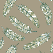 flowery feathers on linen gray background