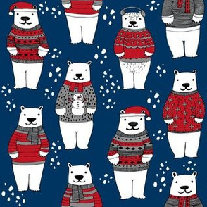 christmas polar bears // winter bear christmas fabric winter christmas fabrics cute polar bears