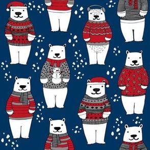 christmas polar bears // winter bear christmas fabric winter christmas fabrics cute polar bears