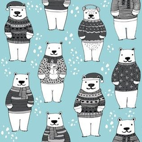 christmas polar bear // ugly sweaters christmas fabric winter xmas holiday christmas fabrics winter fabrics