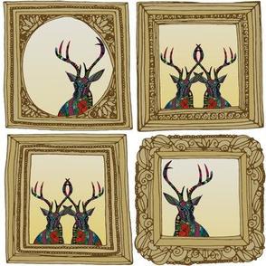 poinsettia deer framed gift tags