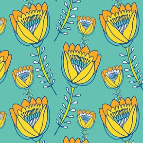 Tropical Tulips Teal & Yellow