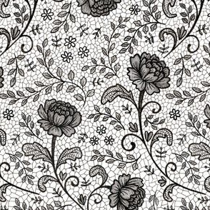 Lace full pattern - Black on White