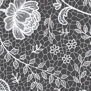 Lace full pattern - White on Charcoal