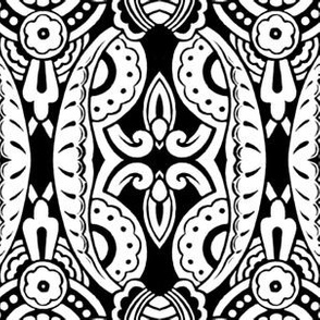 Willoughby Damask ~ Black and White