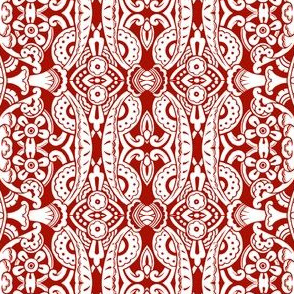 Willoughby Damask ~ Turkey Red and White
