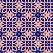 Blue Floral Geometric on Pink