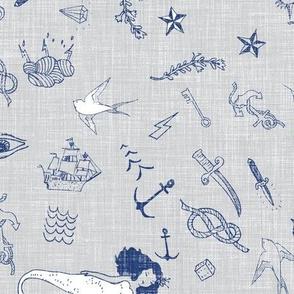 Ahoy sailor tattoos (grey linen)