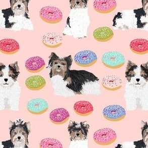 Biewer Terrier christmas donuts fabric cute pink donuts fabric cute girls sweet dogs fabric