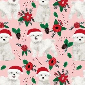 maltese dog poinsettia fabric cute christmas dogs fabric cute xmas holiday maltese toy breeds dog fabric cute dogs design