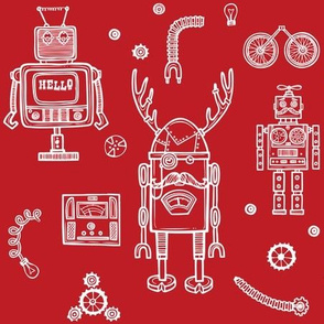 Hello Robots - Red Background