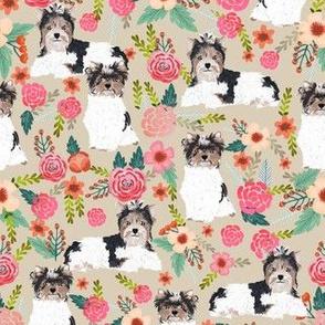 biewer terrier floral dog fabrics vintage style dog florals fabric design