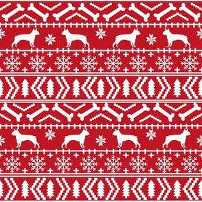 Boston Terrier Fair Isle fabric dogs fabric cute dog christmas fabric red fair isle design fabrics