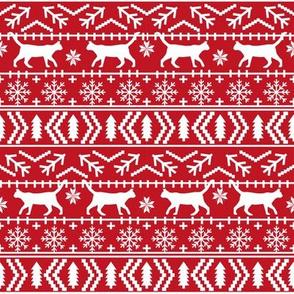 christmas cat fair isle fabric red christmas fabric sweater fabric cute sweater fabrics christmas reds xmas holiday design