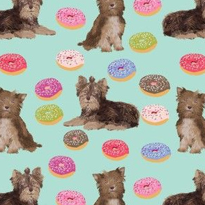 chocolate yorkie donut fabric cute pastel dogs fabric cute yorkie dogs fabric cute donuts pastel mint fabric