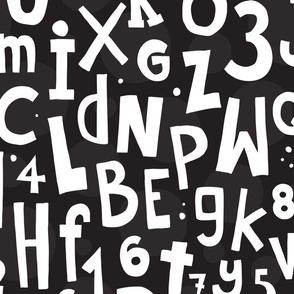 Hand drawn doodle alphabet black