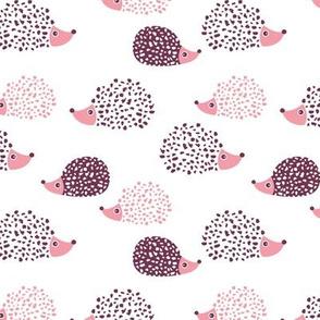 Scandinavian sweet hedgehog illustration for kids girls pink
