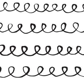 Brush curve lines pattern white black