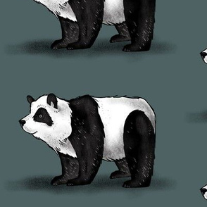 Panda on Dark Green