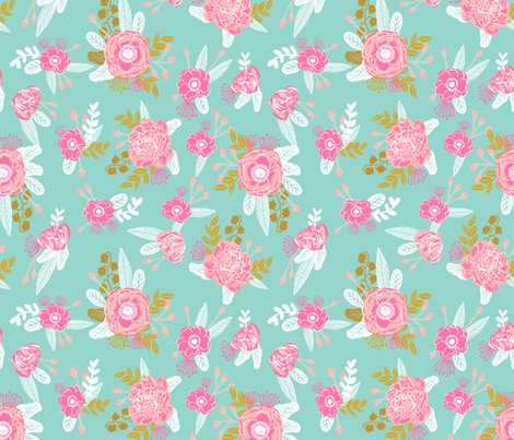 Fox florals mint painted floral fabric nursery baby mint for Floral nursery fabric